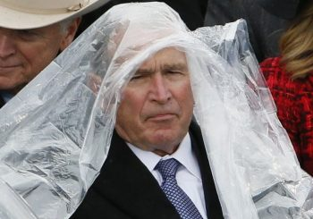 Why George W. Bush and his rain poncho are trending on social media