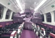 Vandals pile up seats on Australian train