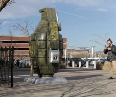 Colorado Department of Transportation unveils 9-foot tall grenade statue