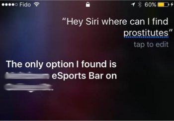 Siri sends users searching for escorts to Toronto video game bar