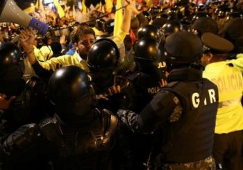 Ecuador election: Fraud alleged as protesters scuffle