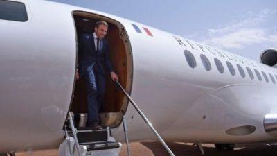 French President Emmanuel Macron arrives in Mali