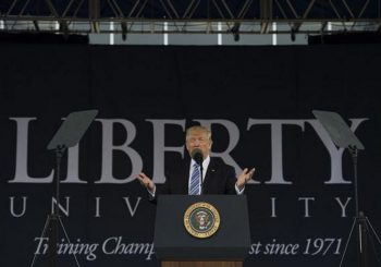 Trump promises to defend faith in Liberty University address