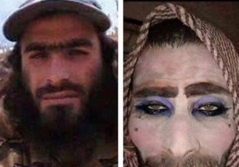 Fleeing IS militant got his eyeshadow and lipstick right but forgot to shave