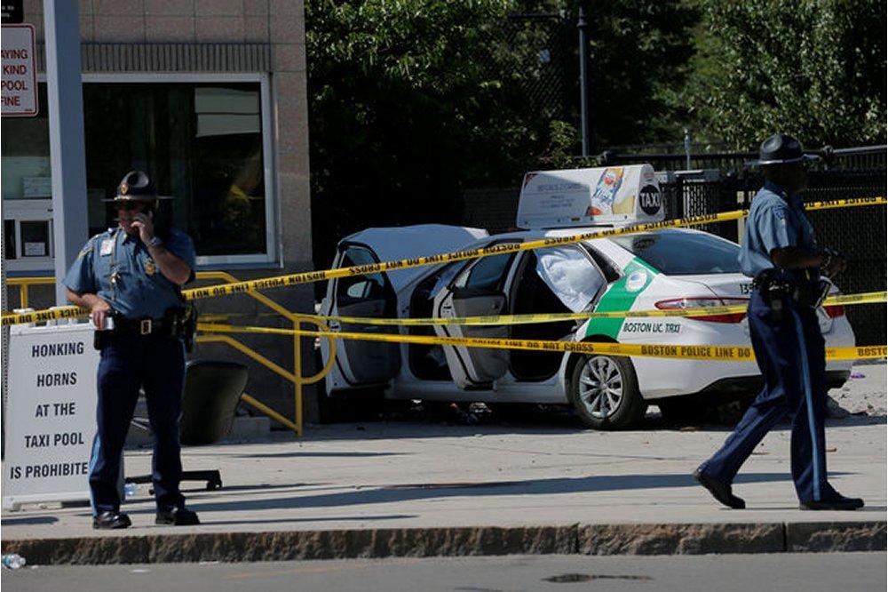 Taxi hits pedestrians near Boston airport