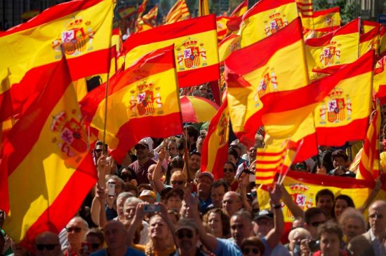 Huge Barcelona rally for Spanish unity